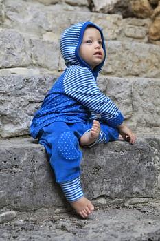 WENDEL  dětská oboustranná mikinka ze 100% biobavlny - modrá saphhire