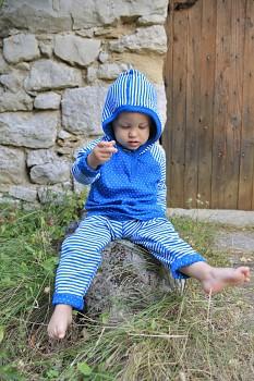 NICKY dětské oboustranné legíny ze 100% biobavlny - modrá saphhire