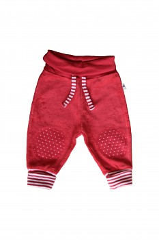 NICKY kojenecké kalhoty ze 100% biobavlny - červená ibišková