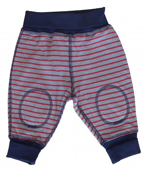 NICKY oboustranné kojenecké kalhoty ze 100% biobavlny - modrá ocean / šedá