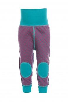 NICKY oboustranné kojenecké kalhoty ze 100% biobavlny - fialová/tyrkys