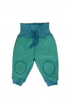 NICKY oboustranné kojenecké kalhoty ze 100% biobavlny - tyrkysovo modrá baltic