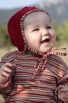 RINDEL dětské tričko ze 100% biobavlny - červené proužky sonnenringel
