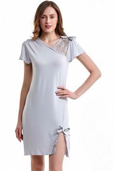 Dámská noční bambusová košilka ZARA - šedá stříbrná