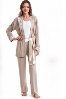 SADA - Dámské bambusové pyžamo s županem CARINA - béžová