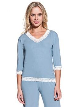 Dámské bambusové pyžamo ROZALIE - modrošedá