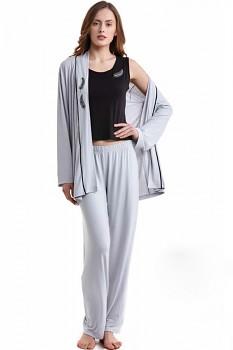 SADA - Dámské bambusové pyžamo s županem GABRIELLE - stříbrná