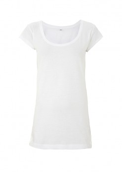 Dámské prodloužené tričko z tencelu a biobavlny - bílá