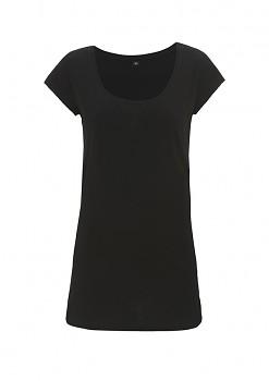 Dámské prodloužené tričko z tencelu a biobavlny - černá