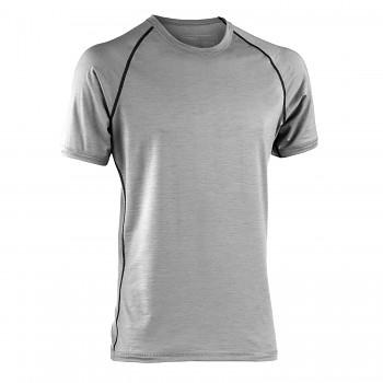 Pánské sportovní tričko s kr. rukávy z bio merino vlny a hedvábí - světle šedá silver