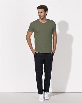 STANLEY LEADS Pánské tričko s krátkým rukávem ze 100% biobavlny -mid heather khaki