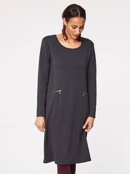 RILEY dámské šaty z biobavlny - tmavě šedá pewter