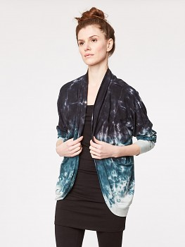 MORI dámský svetr z bambusu a biobavlny - tmavě modrá tye dye