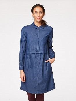 HILMA dámské košilové šaty ze 1000 biobavlny - denim