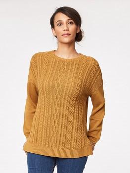 FAIRFIELD dámský svetr ze 100% biobavlny - žlutá okrová