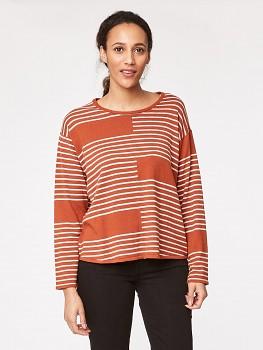 BENJAMINA dámský svetr z biobavlny a vlny - oranžová burnt orange