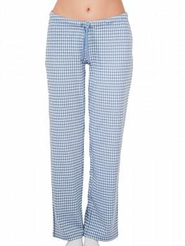 Albero dámské pyžamové kalhoty ze 100% biobavlny - světle modrá kostka