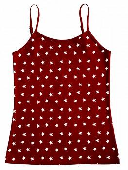 Albero dámská košilka na ramínka z biobavlny - červená s hvězdičkami
