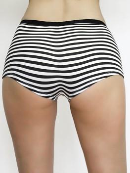 Dámské kalhotky (boyshorts) z biobavlny - černobílý proužek