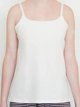 Albero dámská kojící košilka na ramínka z biobavlny - bílá