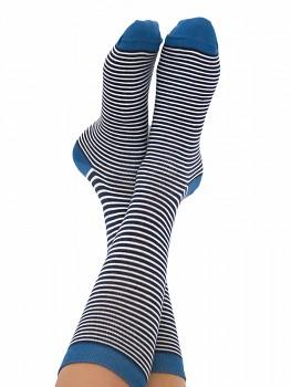 Ponožky ze biobavlny - modrý proužek