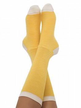 Ponožky ze biobavlny - žlutý proužek