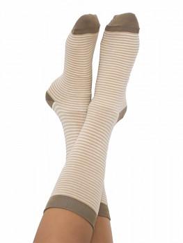 Ponožky ze biobavlny - hnědý proužek