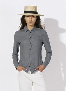 Stella INSPIRES DENIM dámská košile s dlouhými rukávy ze 100% biobavlny - šedá mid grey denim