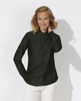 Stella INSPIRES DENIM dámská košile s dlouhými rukávy ze 100% biobavlny - černá