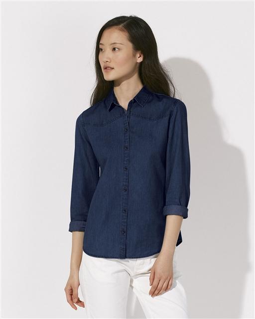 86da52fc8 Stella INSPIRES DENIM dámská košile s dlouhými rukávy ze 100% biobavlny -  modrá dark indigo denim