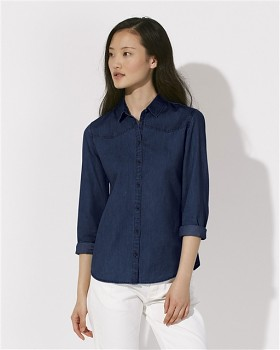 Stella INSPIRES DENIM dámská košile s dlouhými rukávy ze 100% biobavlny - modrá dark indigo denim
