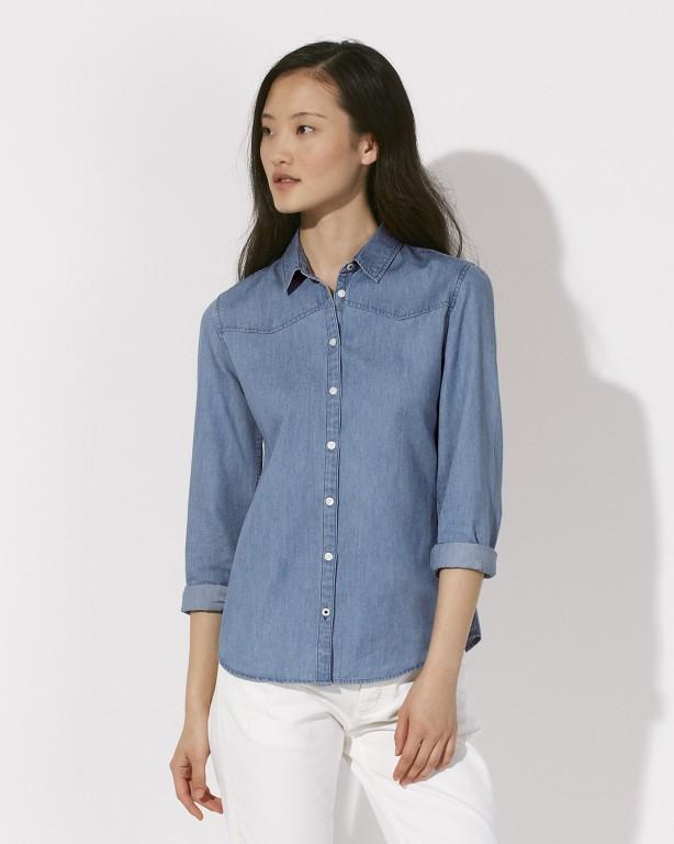007ce0edd Stella INSPIRES DENIM dámská košile s dlouhými rukávy ze 100% biobavlny -  světle modrá light indigo denim