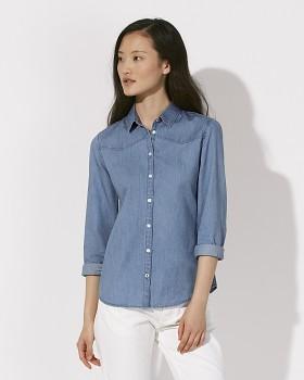 Stella INSPIRES DENIM dámská košile s dlouhými rukávy ze 100% biobavlny - světle modrá light indigo denim