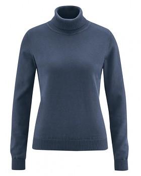 ROLLI pletený dámský rolák z konopí a biobavlny -  tmavě modrá wintersky