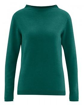 WOOL CUP  pletený dámský vlněný pulovr - zelenomodrá spruce