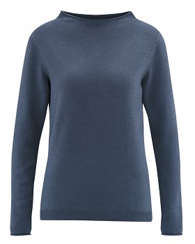 WOOL CUP  pletený dámský vlněný pulovr - tmavě modrá wintersky