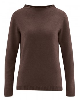 WOOL CUP  pletený dámský vlněný pulovr - hnědá čokoládová