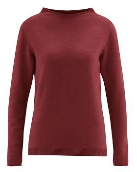 WOOL CUP  pletený dámský vlněný pulovr - červenohnědá chestnut