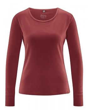 ANDI dámské triko s dlouhými rukáv z biobavlny a konopí - červenohnědá chestnut