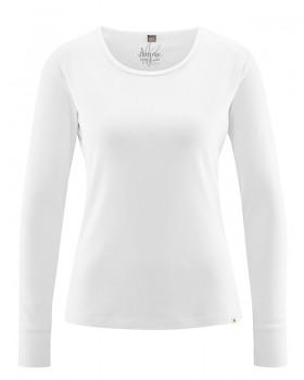 ANDI dámské triko s dlouhými rukáv z biobavlny a konopí - bílá