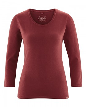 MIA dámské triko se 7/8 rukávy z biobavlny a konopí - červenohnědá chestnut