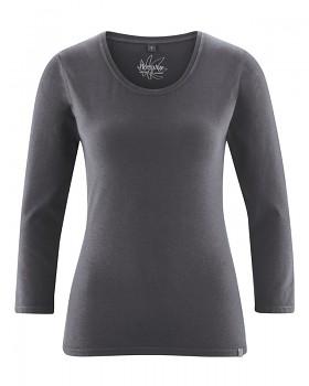 MIA dámské triko se 7/8 rukávy z biobavlny a konopí - tmavě šedá antracit