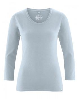 MIA dámské triko se 7/8 rukávy z biobavlny a konopí - světle šedá platinová