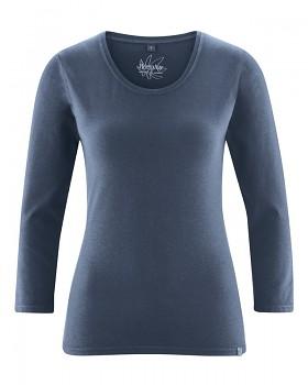 MIA dámské triko se 7/8 rukávy z biobavlny a konopí - tmavě modrá wintersky