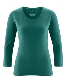 MIA dámské triko se 7/8 rukávy z biobavlny a konopí - zelenomodrá spruce