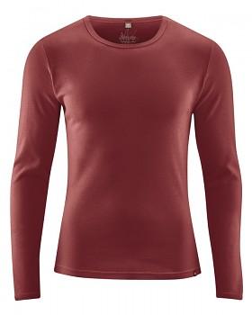 HAL  pánské triko s dlouhými rukávy z biobavlny a konopí - červenohnědá chestnut