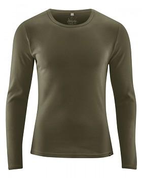 HAL  pánské triko s dlouhými rukávy z biobavlny a konopí - khaki wolf