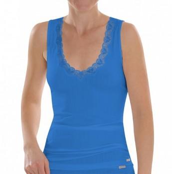 Comazo Earth Dámská žebrovaná košilka z biobavlny - modrá chrpová