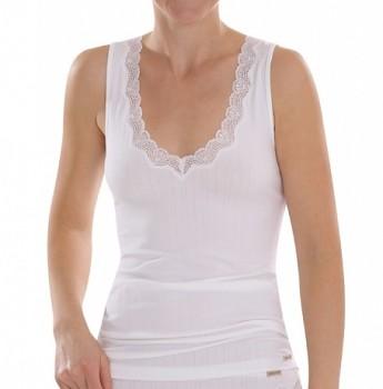 Comazo Earth Dámská žebrovaná košilka z biobavlny - bílá