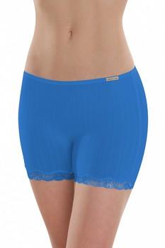 Comazo Earth Dámské kalhotky s nohavičkami a krajkou z biobavlny - modrá chrpová